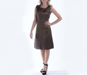 Black/Gold Fitted Sheath Dress