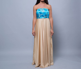 Nicola Dress in blue and gold