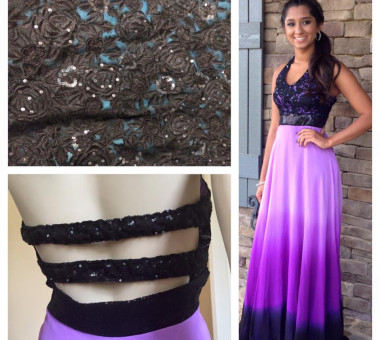 Hand embroidery and three-tier dyed prom dress